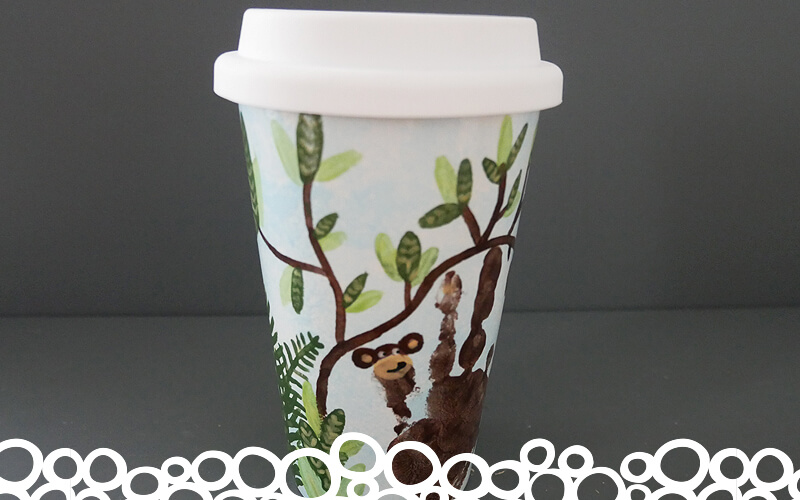 Angel Crafts Pottery Painting coffee cup hand print
